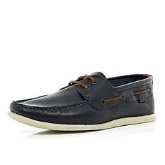 dee140fb770 Navy leather lace up boat shoes - boat shoes - shoes   boots - men