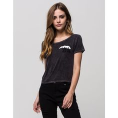 Full Tilt Bear Baby Womens Tee ($20) ❤ liked on Polyvore featuring tops, t-shirts, black, crop top, short sleeve tee, cropped graphic tees, black crop top and graphic t shirts