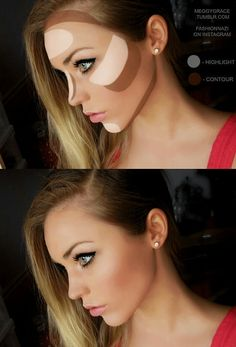 Best Ideas For Makeup Tutorials : Contouring Highlight - make_up_pintennium Face Contouring, Contour Makeup, Contouring And Highlighting, Skin Makeup, Contour Face, Contouring Tutorial, Light Contouring, Eyebrow Makeup, All Things Beauty