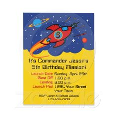Rocket Ship 5th Birthday Custom Invitations from Zazzle.com