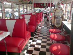 American Diner- i want to go to an american diner and order a burger/hot dog, fries, and a milkshake, and waffles.