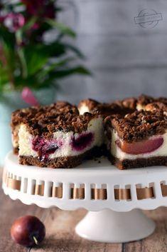 Kruche ciasto z masą grysikową i śliwkami – Smaki na talerzu Cheesecake, Muffin, Food And Drink, Breakfast, Cos, Recipes, Ideas, Morning Coffee, Cheesecakes
