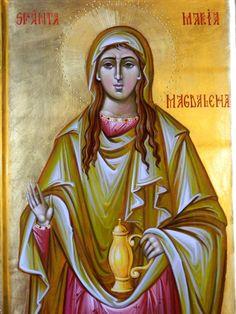 Sfanta Maria Magdalena Mironosita- Icoana pe lemn , realizata in tehnica bizantina , cu foita de aur de 22k.  Dimensiunea A3 ( 42X30 ) cm Aur, Princess Zelda, Fictional Characters, Fantasy Characters