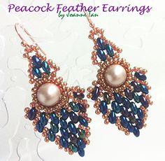 Tutorial: Peacock Feather Earrings by JoTan88 | JewelryLessons.com - utrolige smukke ørenringe med stor perle i hvid-blå superduo og kobber seed - skal laves - 1. prioritet