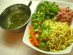 Korean cold noodle salad recipe , substituted cooked chicken for ham ...