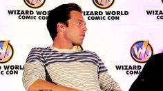 Sebastian's reaction when the moderator kept calling Bucky a villain :)