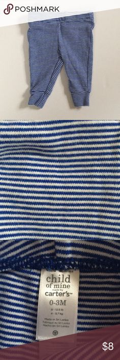 EUC Carter's Blue & White striped pants size 0-3m EUC only worn once- like new! Carter's Child of Mine baby boy blue and white striped pants. Size 0-3m. Carter's Bottoms