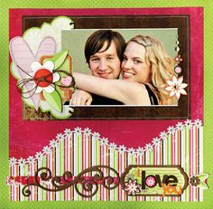 Scrapbook Page Layout: I Love You. Perfect for Valentines Day