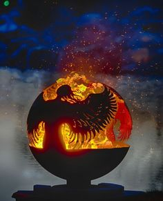 feuerstelle tanzender engel design sphäre