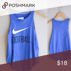 "Nike Football Tank 💎 Perfect condition.  Comes new with tag. 100% ""green"" as this is a recycled vintage top that has been reconstructed by hand to fit current trends ♥️  ⚖ Reasonable Offers Considered through offer button.  ⚜Top Seller. No Trades.  📬 Quick Shipping.        💰Bundle for Discount. Nike Tops Tank Tops"