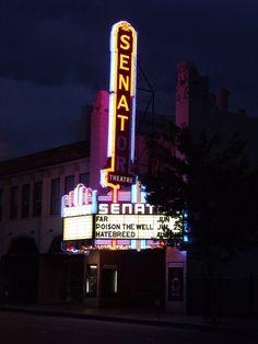 The historic Senator movie theatre in downtown Chico California, taken summer 2010. Copyright BeMedia Internet 2010.