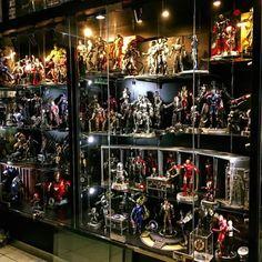 One serious display Funko Pop Shelves, Funko Pop Display, Toy Display, Display Cases, Comic Book Rooms, Comic Room, Action Figure Display Case, Lego Room Decor, Geek Room