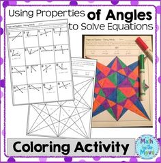 This fun coloring activity can be used to review or practice how to set up and solve equations to find a missing value, using pairs complementary, supplementary, vertical, or adjacent angles. Included in this set: 1. Sixteen problems in which students set up an equation and solve for a missing variable.  2.