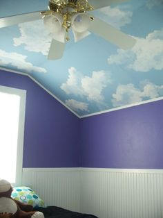 Already painted the room sky blue now just need to get the cloud decals