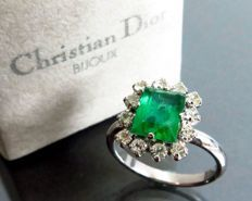 Christian Dior vintage crystal and large emerald cocktail ring