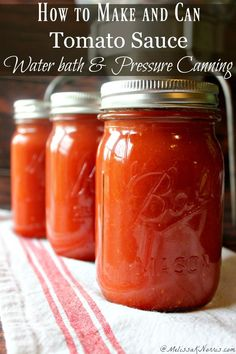 How to make and can homemade tomato sauce safely. You haven't lived until you tasted home canned tomato sauce made with vine ripened tomatoes. Both water bath and pressure canning tutorial!