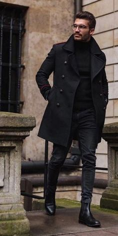 Winter Style All Black Outfits for Men Bad Boy Style All black style Victory… All About is part of Bad boy style - [ad Winter Style All Black Outfits for Men Bad Boy Style All black style Winter fashion f Mens Fashion Suits, Boy Fashion, Men Winter Fashion, Street Fashion, Mens Smart Fashion, Men In Suits, Fashion Quiz, Fashion Sites, Fashion Outfits