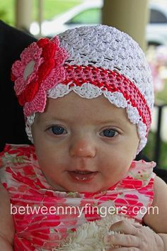 Super quick baby hat. Works great with It's Spring! Girls Sun Hat as a photo prop for sisters!