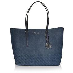 Guess Handle Bags, Delaney Medium Classic Tote Denim Handbag (525 QAR) ❤ liked on Polyvore featuring bags, handbags, tote bags, blue, blue tote, guess handbags, hand bags, handbags purses and man bag