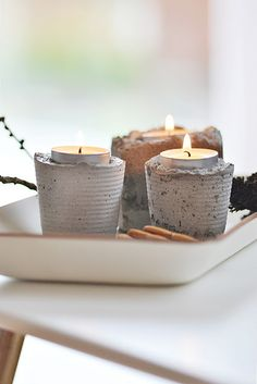 concrete diy candle holders. perfect for citronella candles outside
