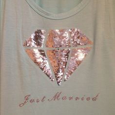just married Victoria's Secret tank Aqua colored great condition super cute tank with some bling loose fitting could fit large as well Victoria's Secret Tops Tank Tops