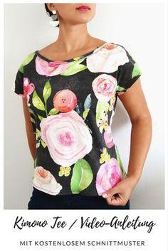 Kimono Tee nähen / Video-Anleitung auf deutsch / kostenloses Schnittmuster für Damen Oberteil T-Shirt
