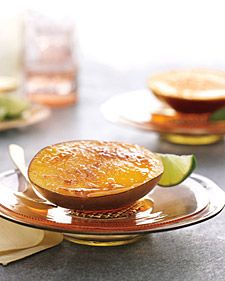 This fruit dessert has a caramelized-sugar topping much like that of the classic creme brulee (but it doesn't require owning a kitchen torch). Turbinado sugar, a.k.a. raw sugar, creates a crunchy crust and has a deep flavor, but regular granulated sugar can be substituted in a pinch. To get two even halves from one mango, slice the fruit lengthwise along each side of the pit.