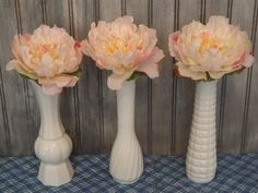 This beautiful set of three large milk glass flower vases would make great wedding table decor. Wedding Vases, Wedding Table, Wedding Decorations, Table Decorations, Glass Flower Vases, Bud Vases, Bridal Shower Rustic, Milk Glass, Home And Living