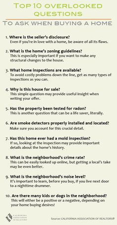 List of Overlooked Questions to Ask Your Real Estate Agent When Buying a Home. #realestate #glasshouse
