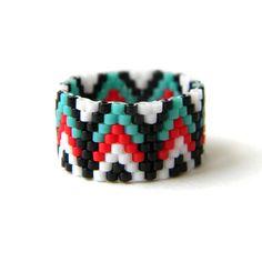 Ethnic ring Ethnic style jewelry Seed bead ring by HappyBeadwork