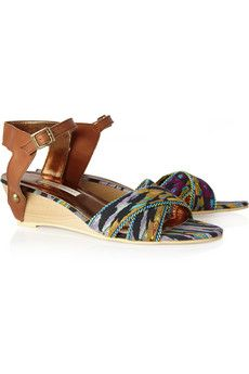 12th Street by Cynthia Vincent Printed poplin and wooden wedge sandals | THE OUTNET