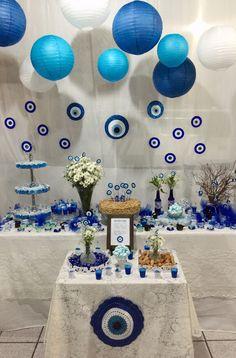 Festa olho grego #decoraçãodeolhogrego #evileye #olhogrego #bday #festaolhogrego