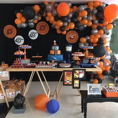 No photo description available. Naruto Birthday, Leo Birthday, 10th Birthday Parties, Birthday Party Decorations, Birthday Ideas, Naruto Party Ideas, Anime Cake, Ninja Party, Childrens Party