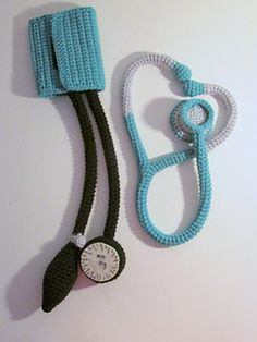 For your teeny medics -- stethoscope and blood pressure cuff pattern $5 in crochet.