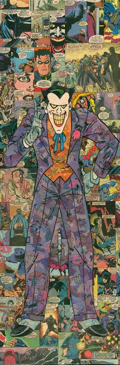 Giclee print of my 12x36 comic collage representation of Harley Quinn, as originally done (and created) by the amazing Bruce Timm for Batman: The Animated Series  Everything you see(in the original) is comic book. No marker, paint, or alternate paper. Just old comics and glue. Each original piece takes approx. 100-150 hours to complete.