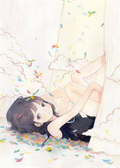 anime, confetti, cute, drawing, girl