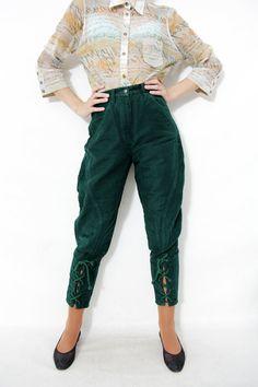 Vintage pants / green Benetton highlands riding pants / by nemres, $62.00
