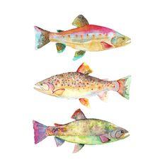 Aquarell Fisch drucken.  Fisch-Home Dekor.  Bunte Kunst.