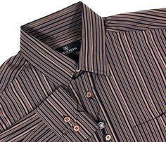 NWT $99 #BUGATCHIUOMO #Mens Medium #Brown #Black Button Front Stripe LS #Shirt #BugatchiUomo #ButtonFront