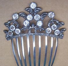 Early Victorian Hair Comb Silver Plated with Crystals Hair