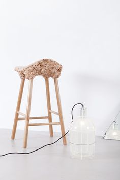 Transnatural Amsterdam. 'Well Proven Stool' by Marjan van Aubel and James Shaw & 'Trap Light' by Gionata Gatto & Mike Thompson @transnaturalart