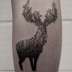 Black line work deer tattoo by Oliver Whiting - Imgur