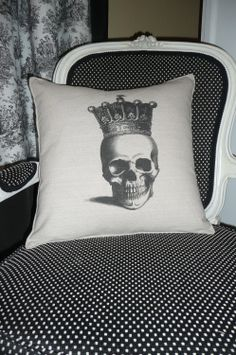 Skull with Crown Pillow Cover by chateauthreefork on Etsy, $19.50 - oh my gosh Nova would love this!