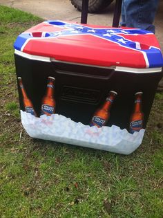 DIY painted cooler with bud light bottles