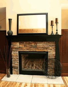 white mantle piece and framing and lighter rock - would be a simpler job :)