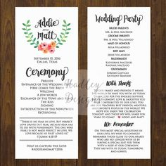 wedding program wording sample