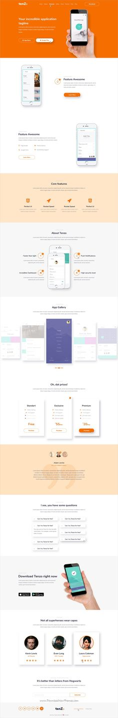 Fazam-Mobile App Website Template Psd templates, Mobile app and - product review template