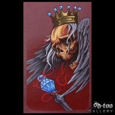 "Skull & Crown - 14x23"" Inkjet Giclee Art Print - SD-too Gallery - Greg Bartz  - Black Anvil Tattoo Artist Print - http://shop.sd-too.com"