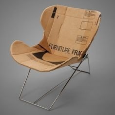 Reclining chairs created from 4-ply cardboard and attached to a steel frame. @Deidré Wallace