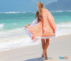 Round Beach Towel - Tangerine Orange Circle Towel | SwimZip Rash Guard Swimwear